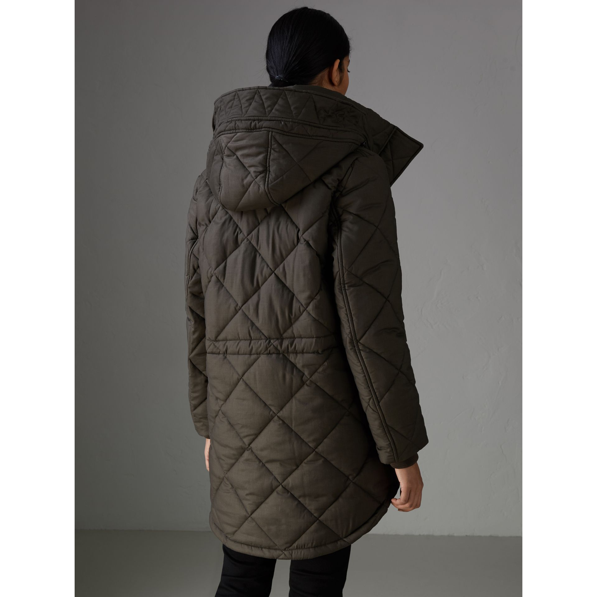 Detachable Hood Quilted Oversized Jacket in Olive - Women | Burberry - gallery image 2