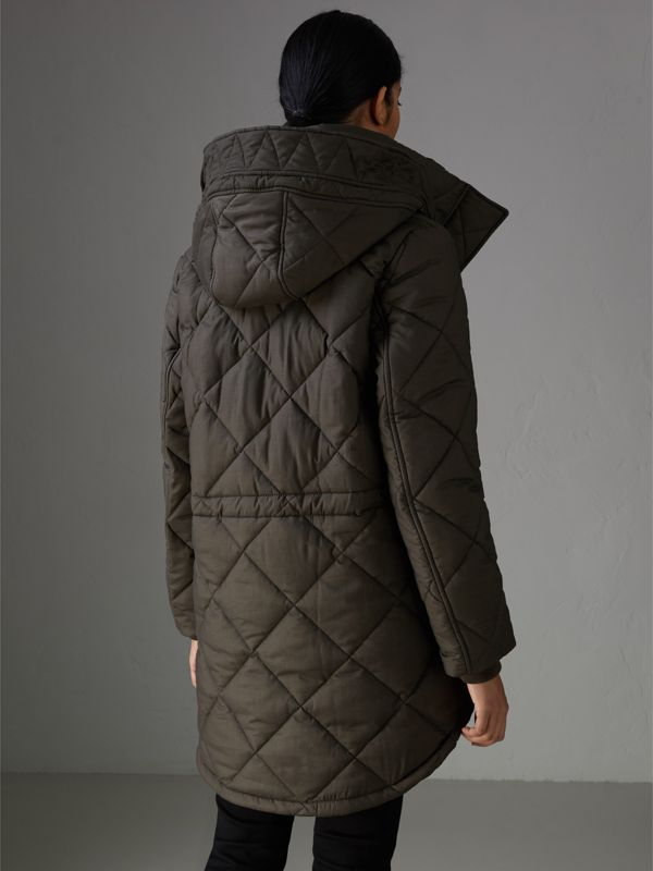 Detachable Hood Quilted Oversized Jacket in Olive - Women | Burberry - cell image 2