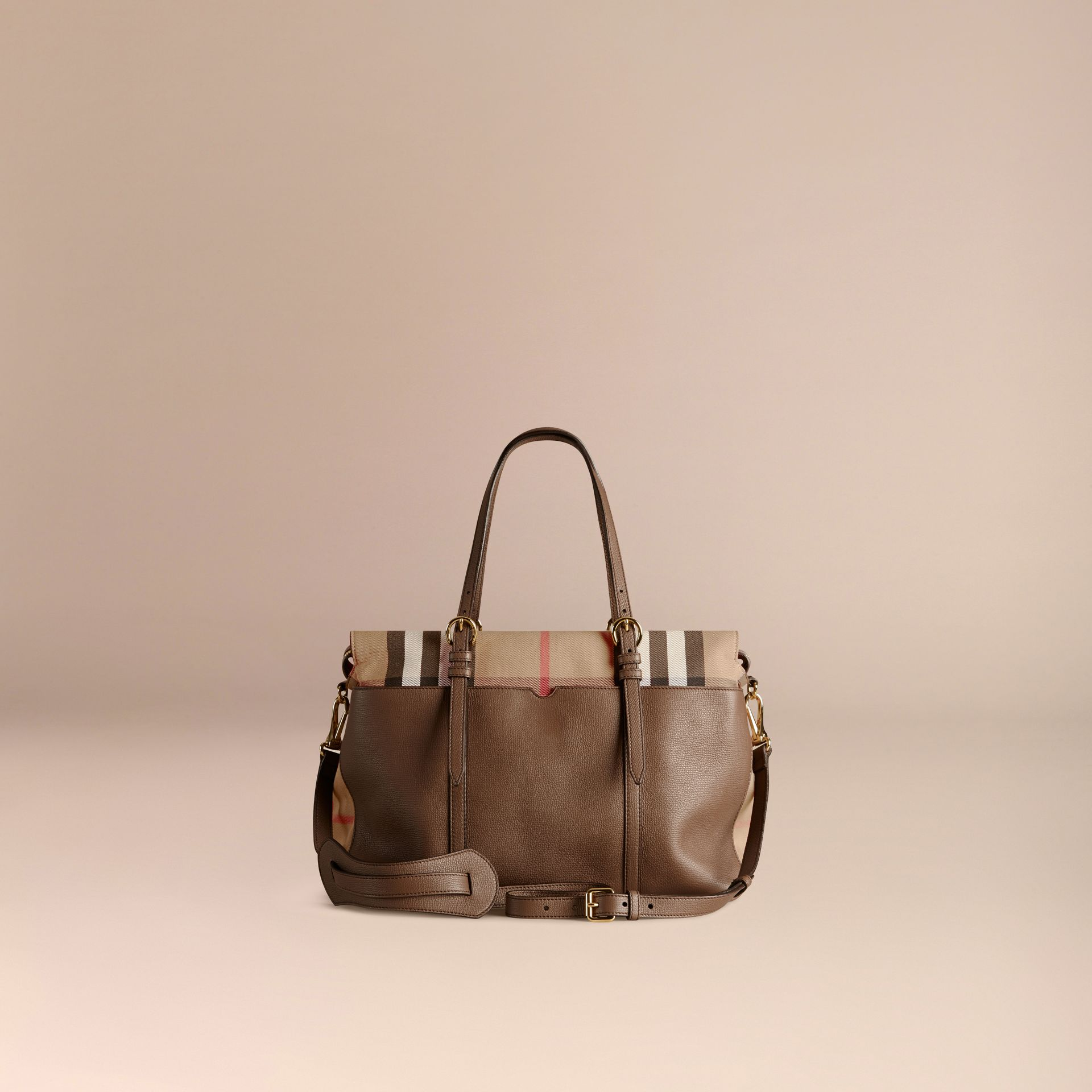 House Check and Leather Baby Changing Bag in Taupe Grey - gallery image 5