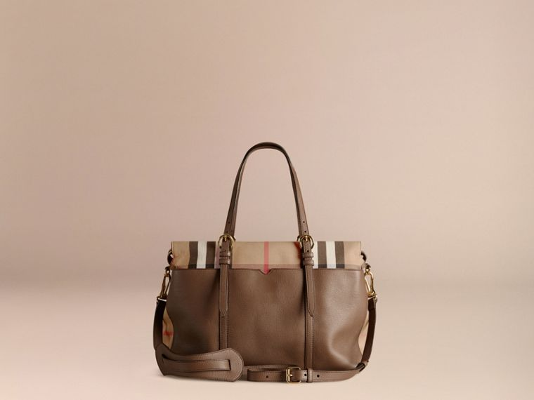 House Check and Leather Baby Changing Bag in Taupe Grey - cell image 4