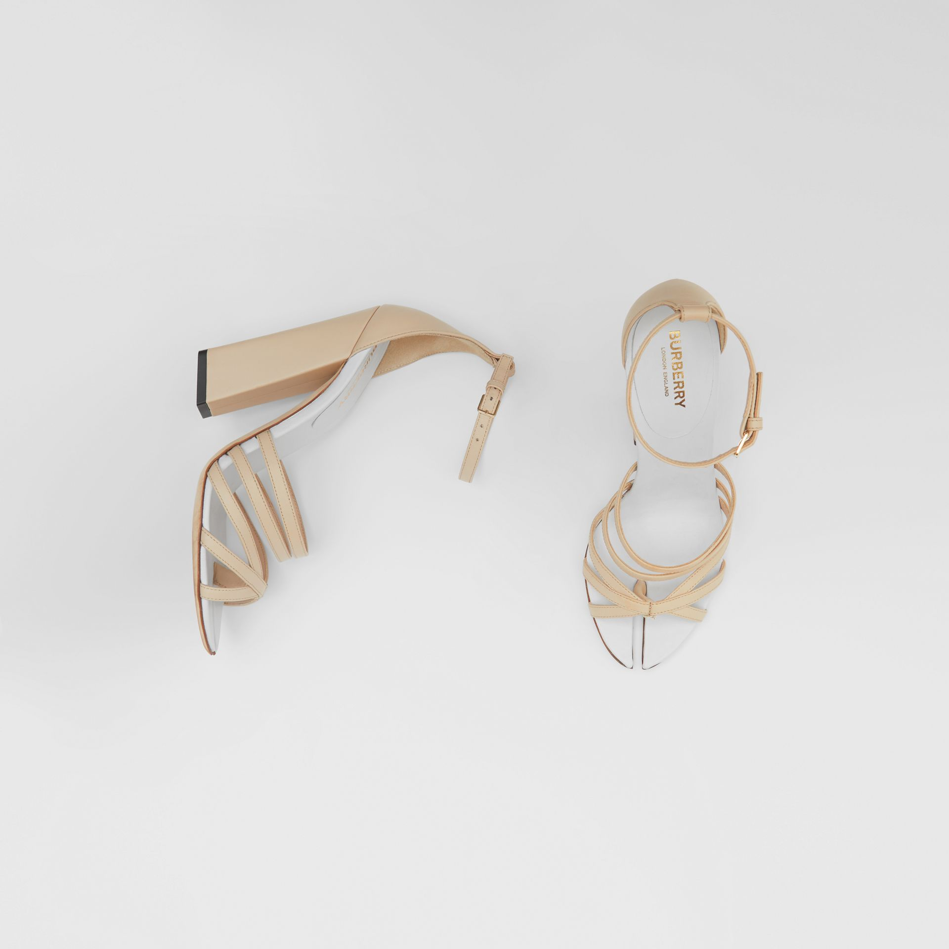 Split-toe Detail Leather Sandals in Soft Fawn - Women | Burberry Australia - gallery image 0