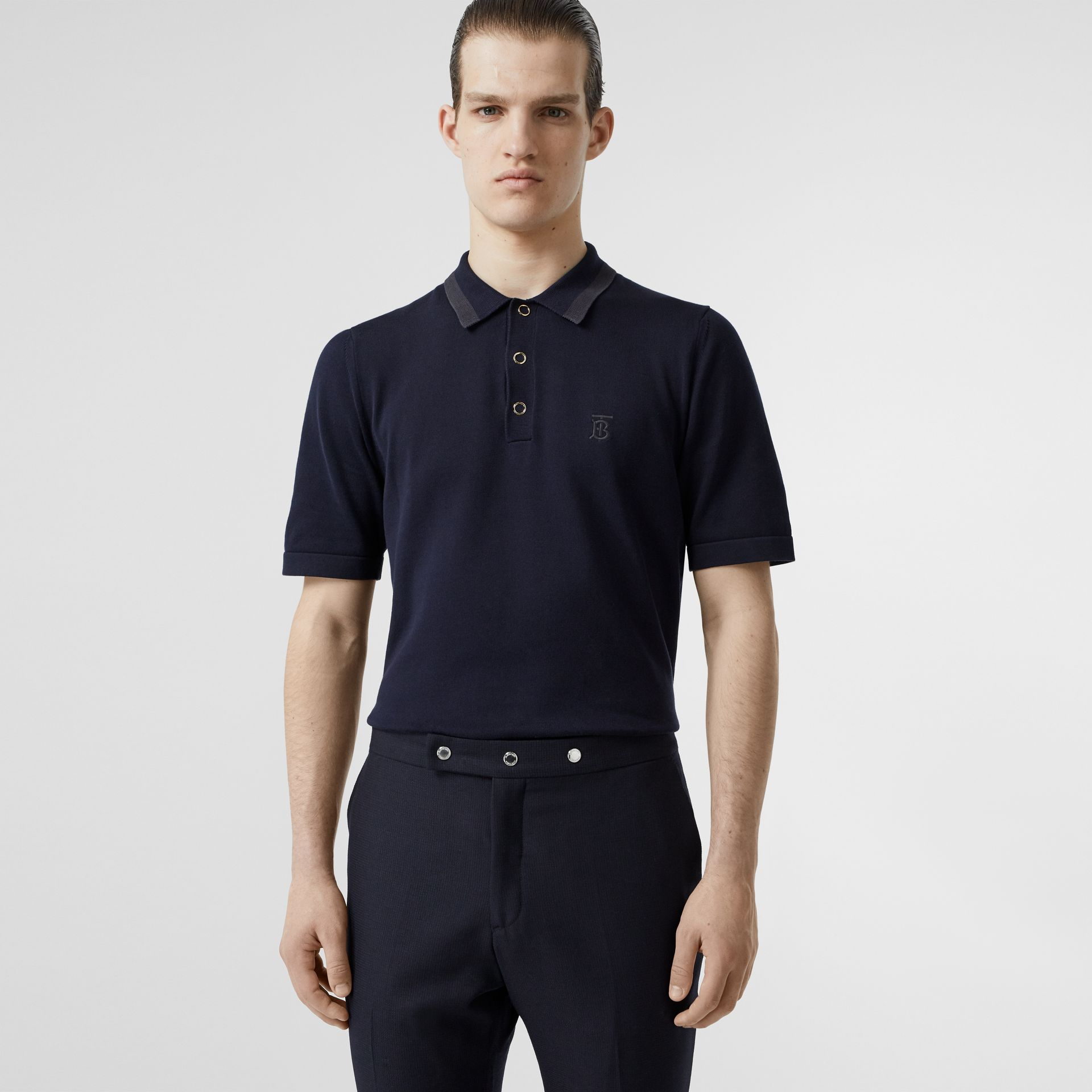 Monogram Motif Cotton Polo Shirt in Navy - Men | Burberry United Kingdom - gallery image 4
