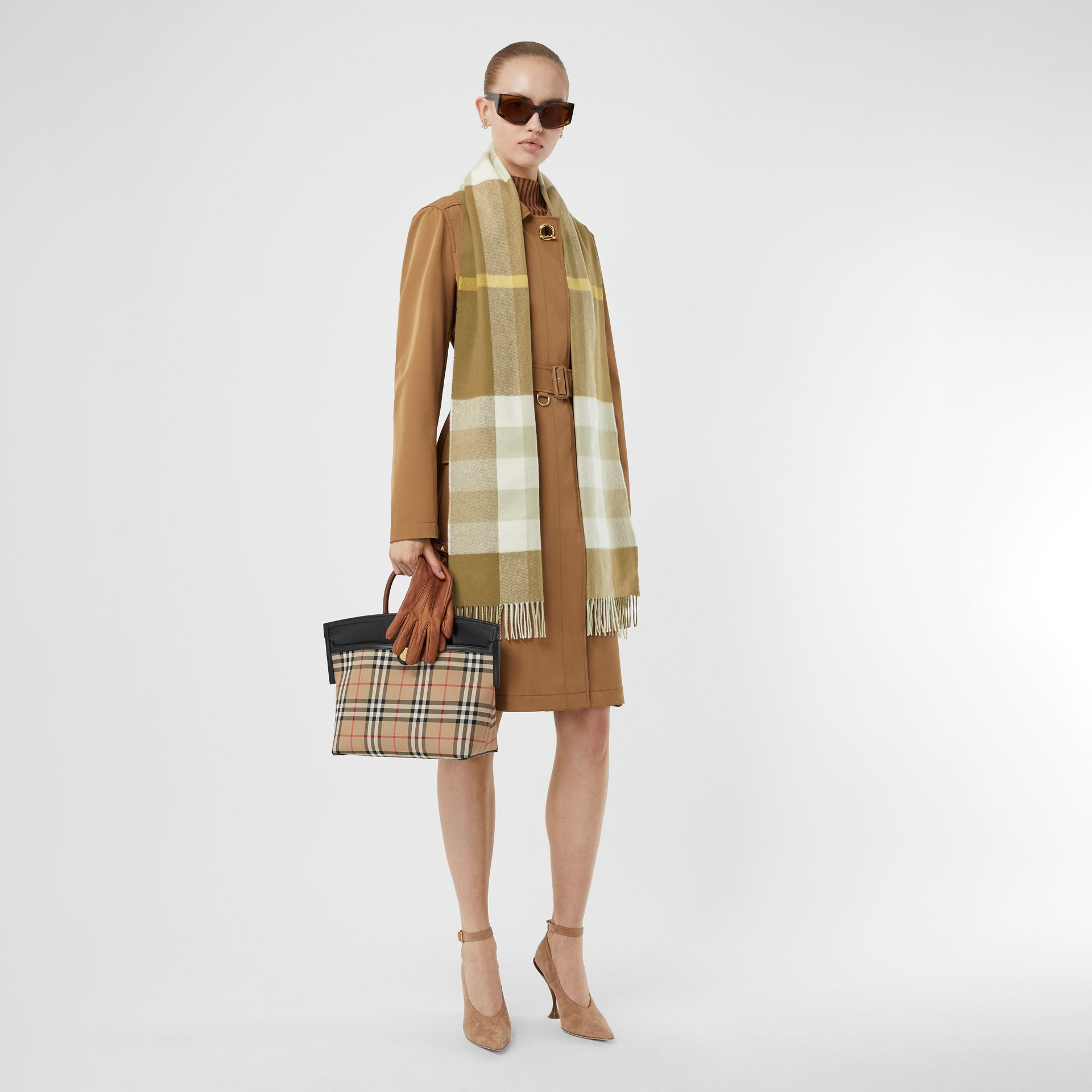 Check Cashmere Scarf in Deep Olive | Burberry United Kingdom - gallery image 6