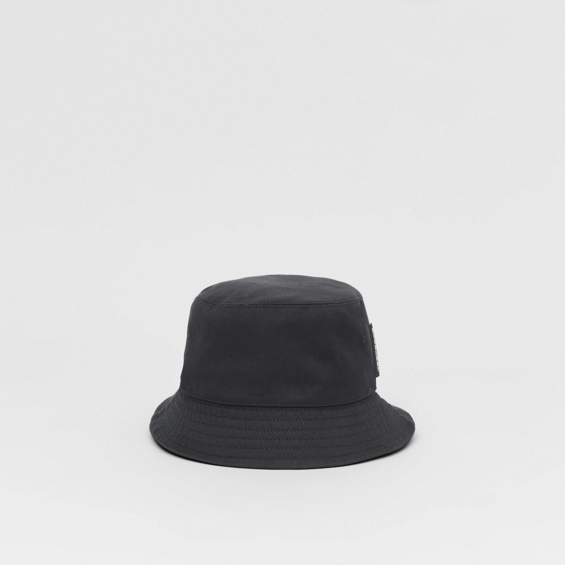Logo Detail Cotton Twill Bucket Hat in Black | Burberry - gallery image 2