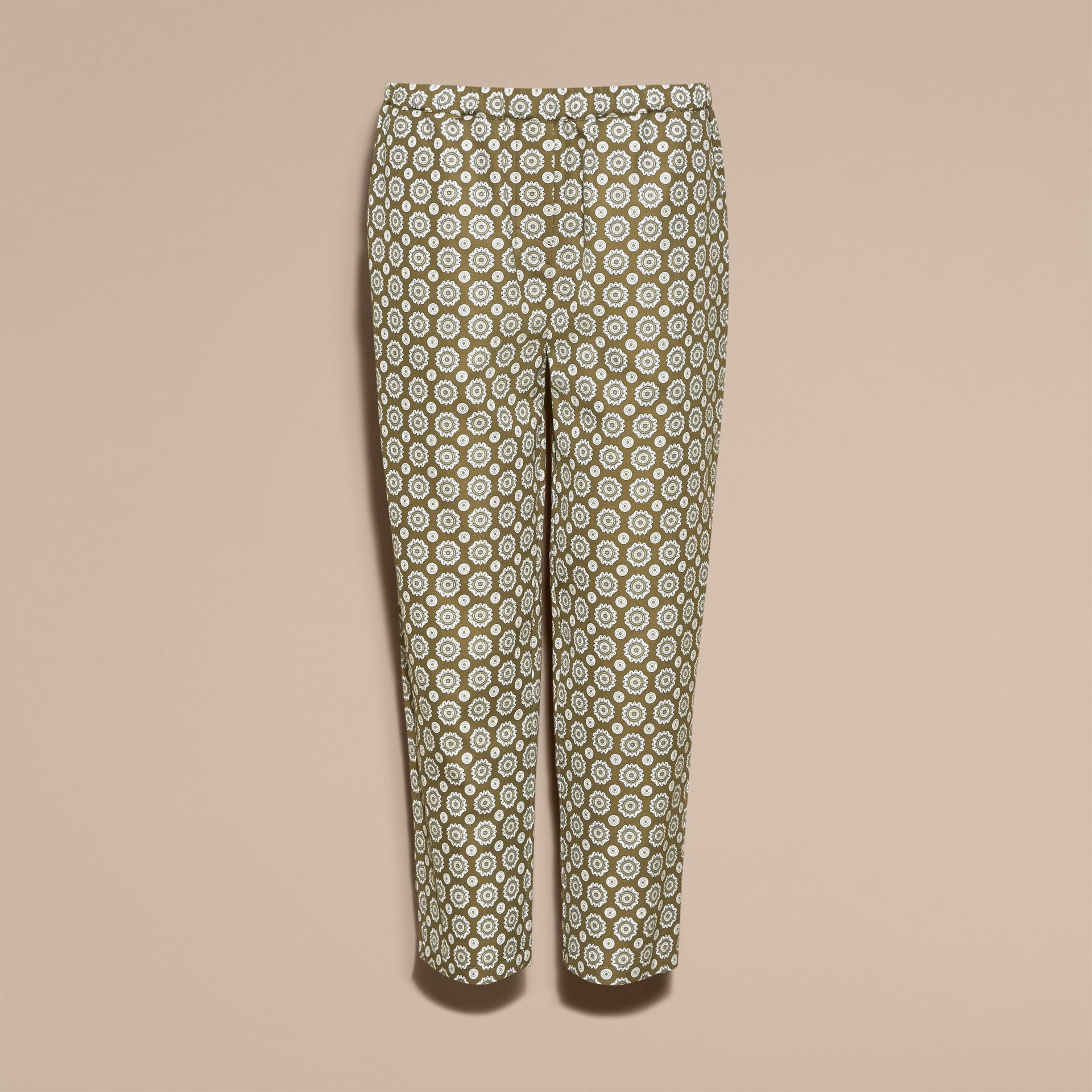 Pyjama Print Cropped Silk Cotton Pyjama-style Trousers in Yellow Olive - gallery image 4