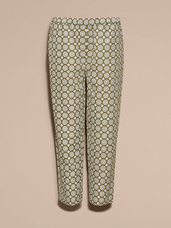 Pyjama Print Cropped Silk Cotton Pyjama-style Trousers in Yellow Olive - cell image 3