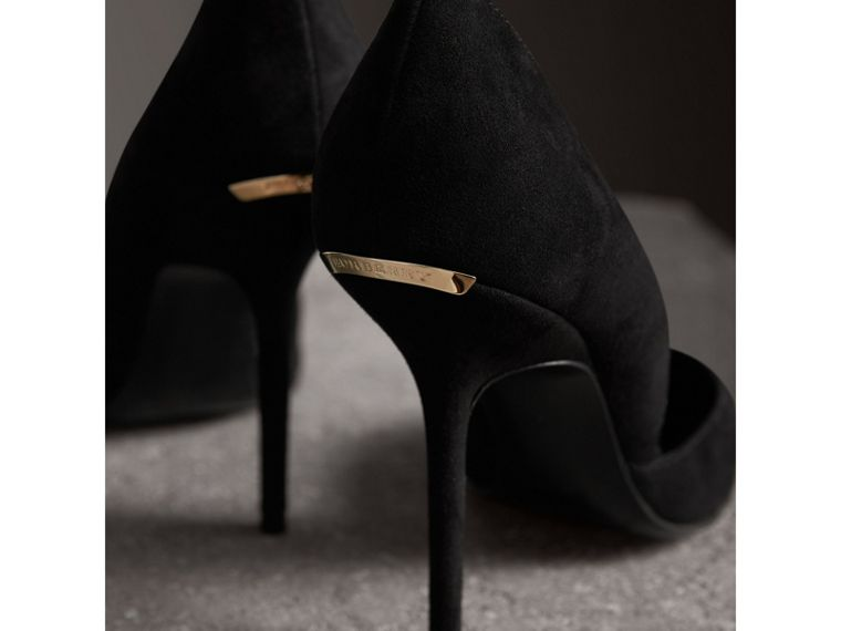 Point-toe Suede D'Orsay Pumps in Black - Women | Burberry - cell image 1