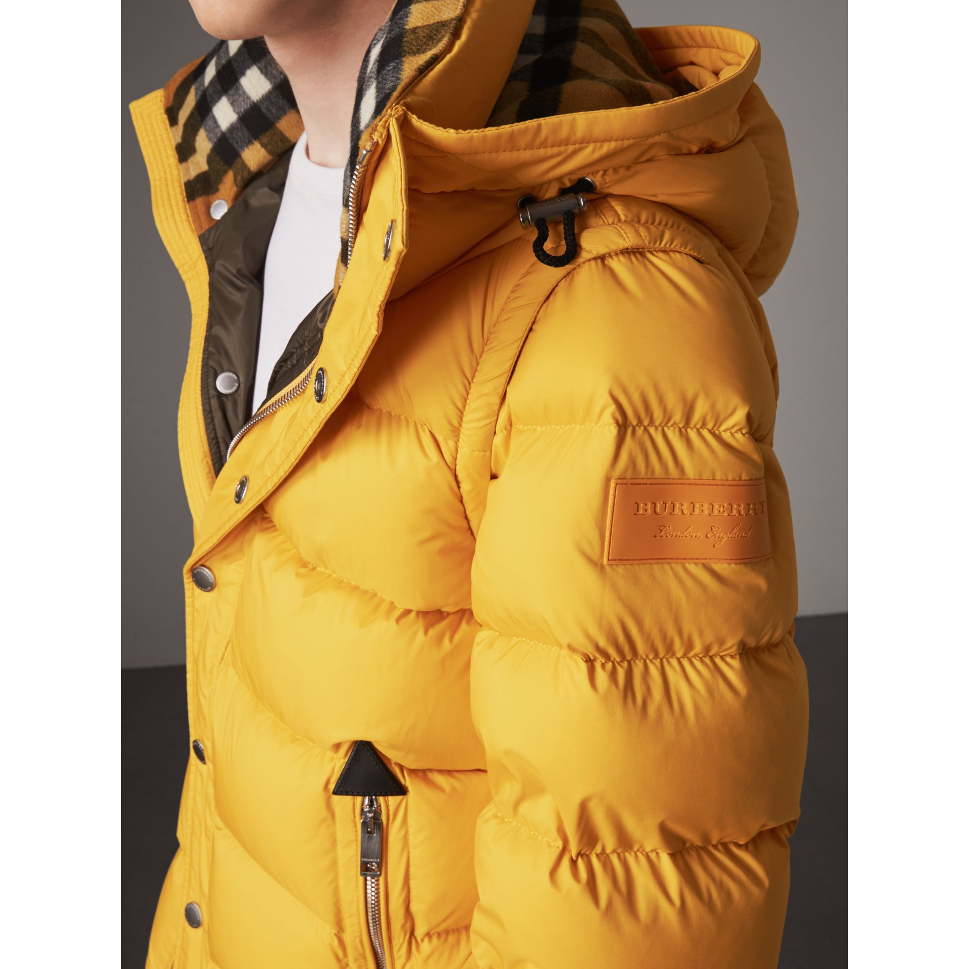 Detachable-sleeve Down-filled Puffer Jacket in Amber Yellow - Men | Burberry - gallery image 1