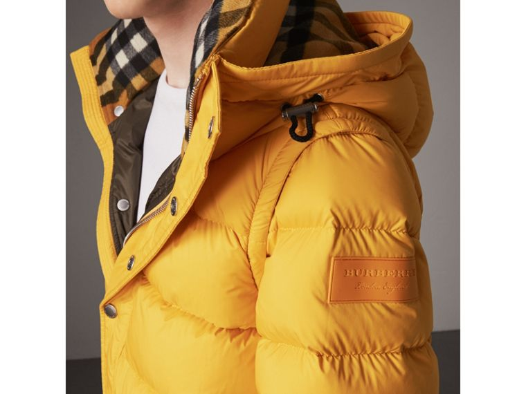 Detachable-sleeve Down-filled Puffer Jacket in Amber Yellow - Men | Burberry - cell image 1