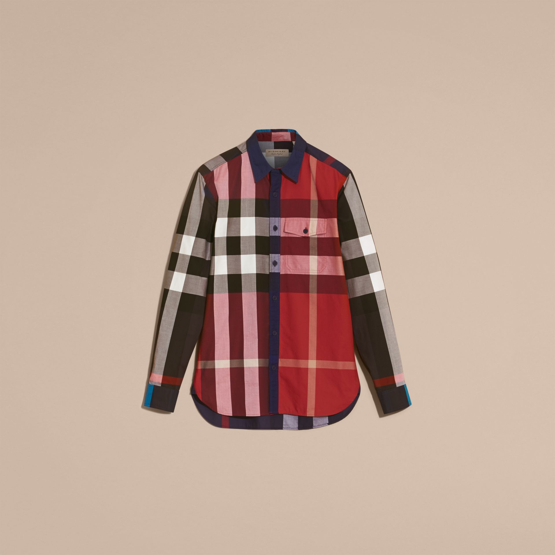 Parade red Check Cotton Poplin Shirt Parade Red - gallery image 4