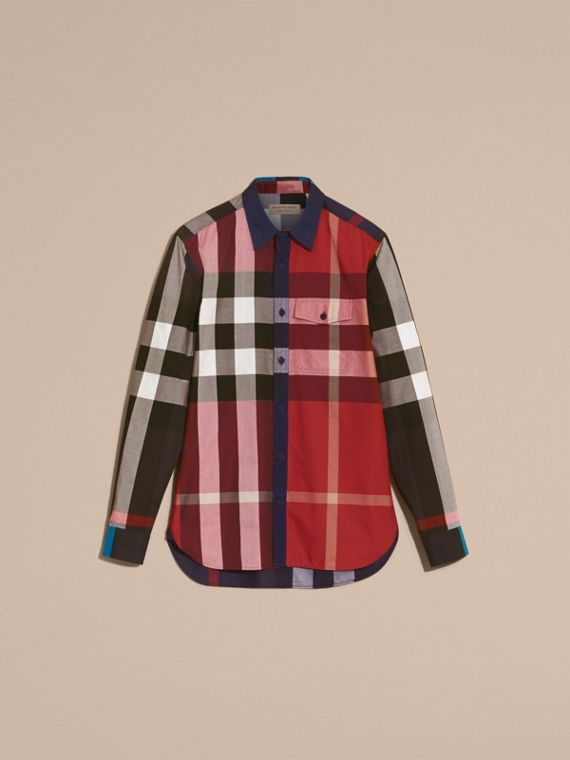 Parade red Check Cotton Poplin Shirt Parade Red - cell image 3