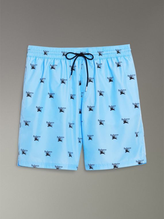 Archive Logo Drawcord Swim Shorts in Sky Blue - Men | Burberry - cell image 3