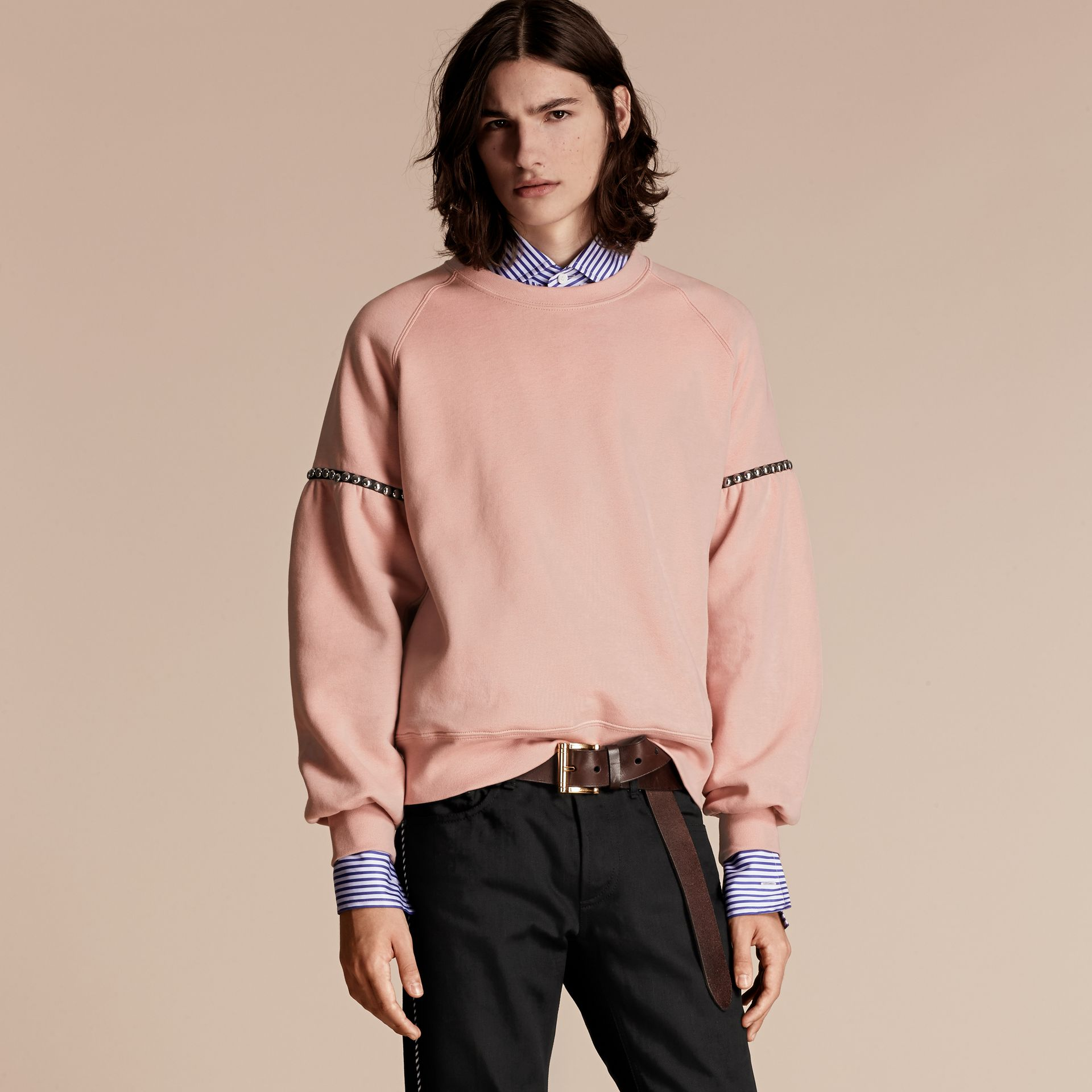Dusty pink Bell-sleeved Cotton Blend Sweatshirt - gallery image 1
