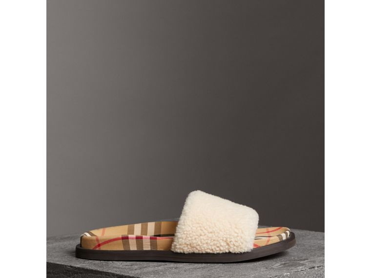 Shearling and Vintage Check Slides in Natural - Women | Burberry - cell image 4