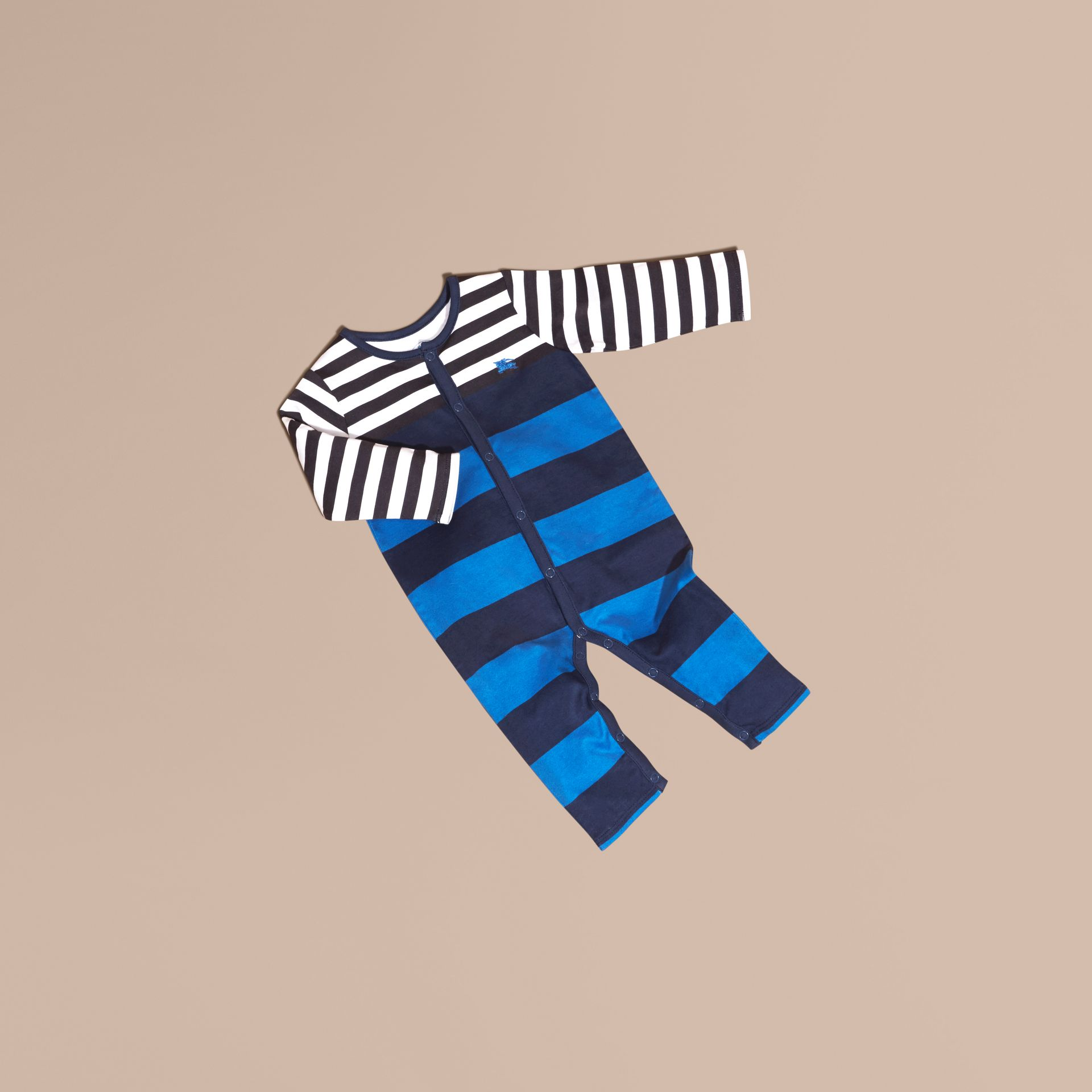 Ink blue Striped Cotton All-in-one - gallery image 1