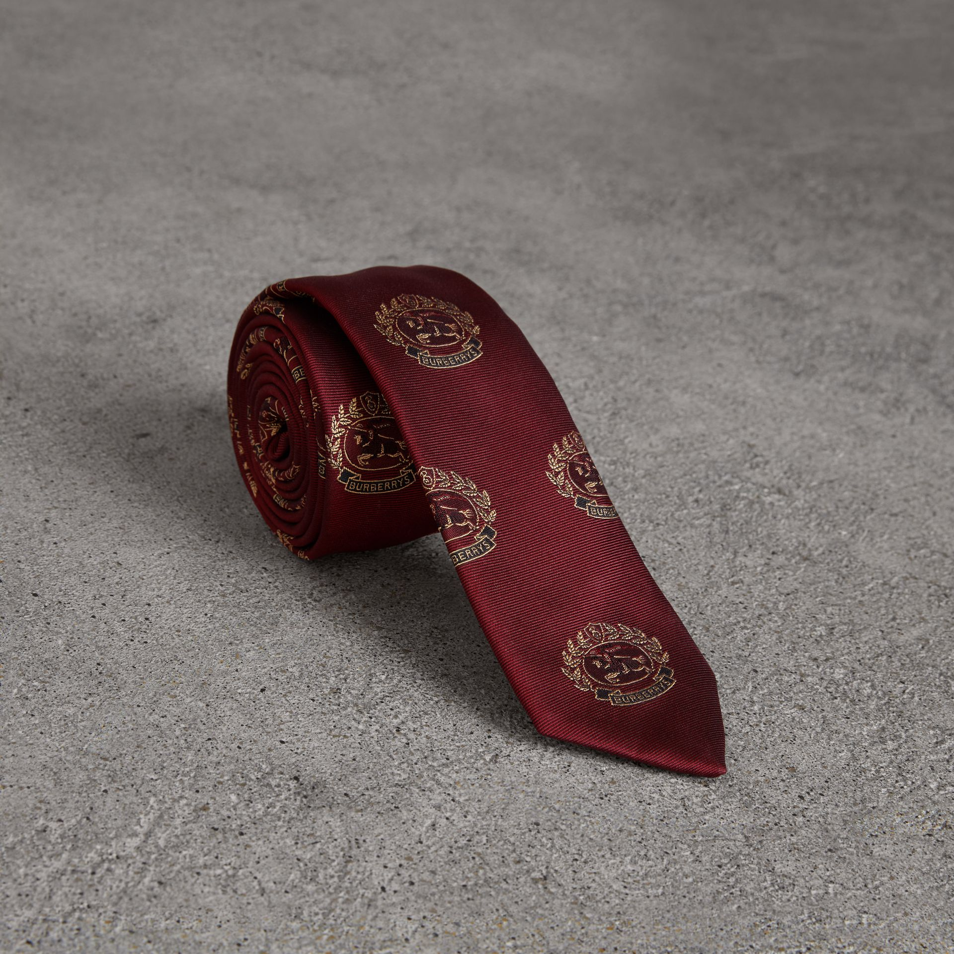 Slim Cut Archive Crest Silk Tie in Claret - Men | Burberry Singapore - gallery image 0
