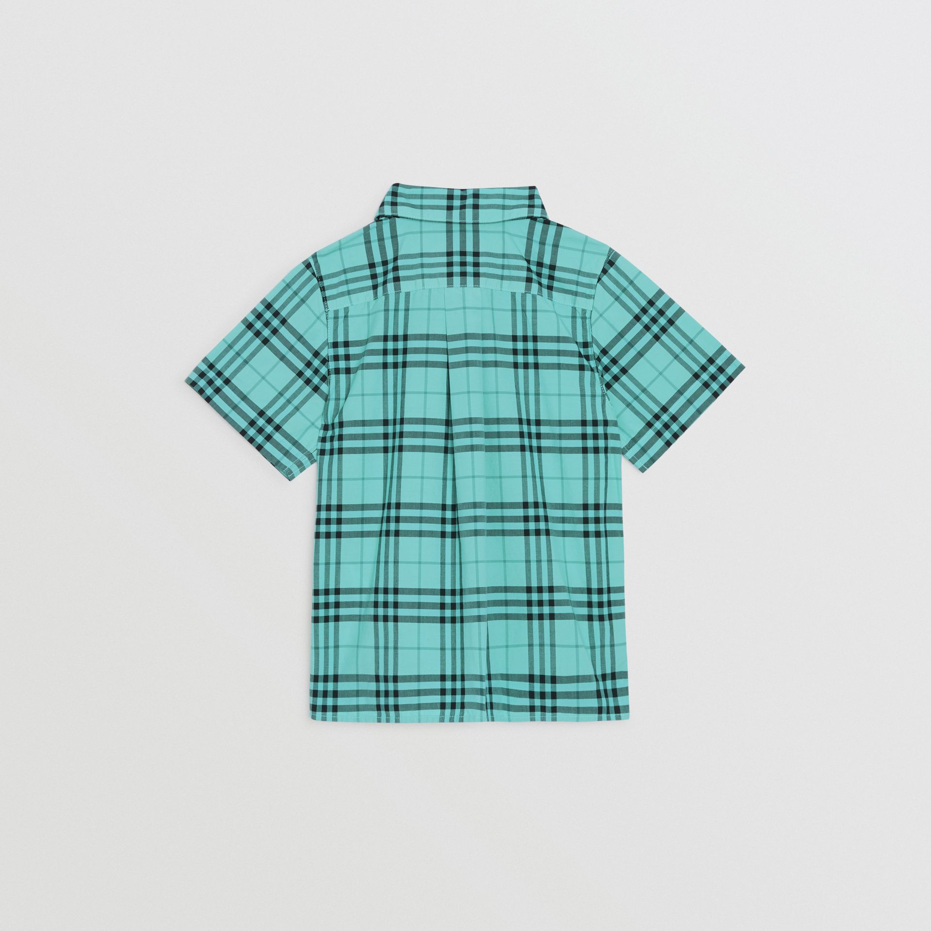 Short-sleeve Check Cotton Shirt in Light Mint | Burberry Singapore - gallery image 3