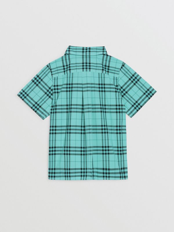 Short-sleeve Check Cotton Shirt in Light Mint | Burberry - cell image 3
