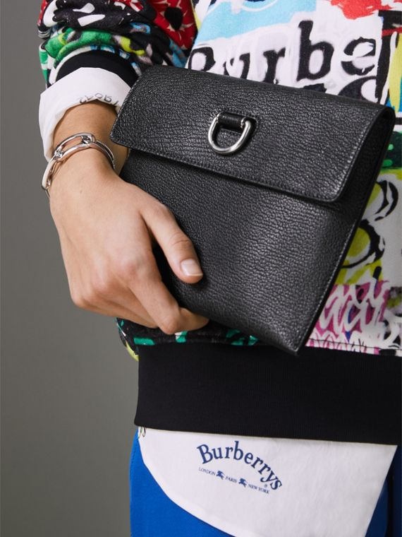 D-ring Leather Pouch with Zip Coin Case in Black/green - Women | Burberry - cell image 3