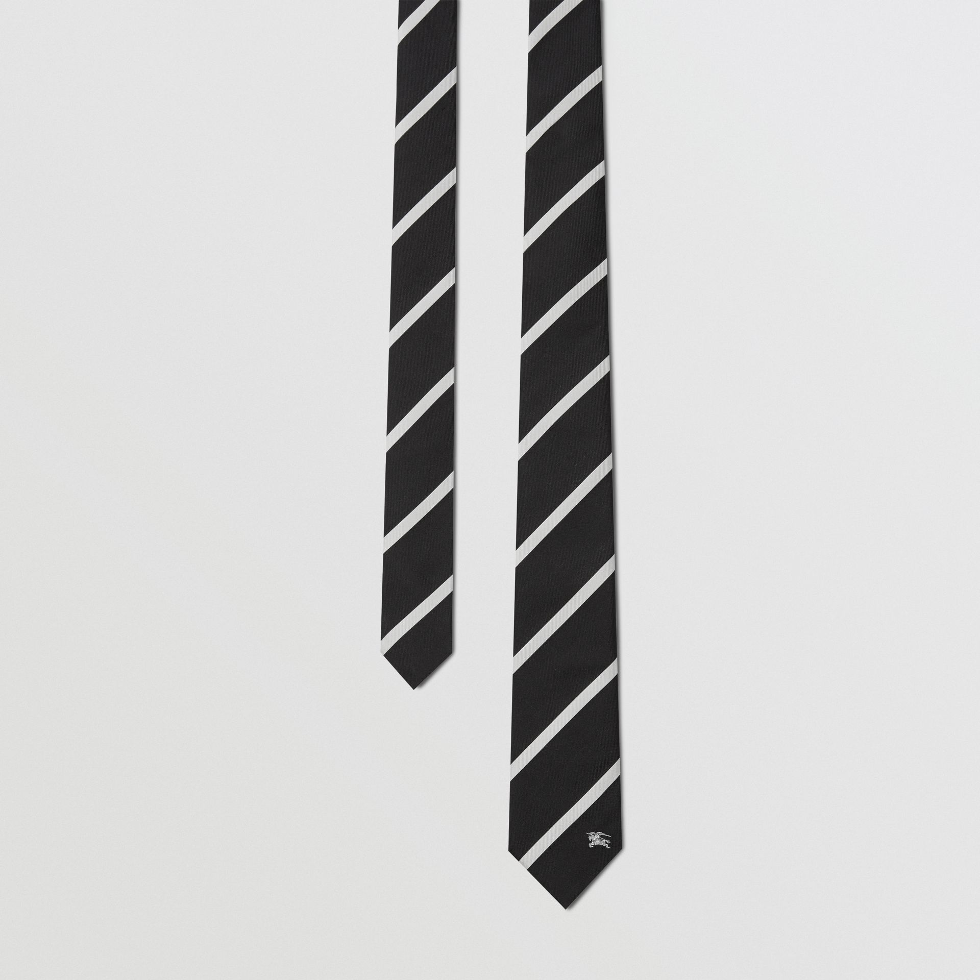 Slim Cut Striped Silk Twill Tie in Black - Men | Burberry - gallery image 0
