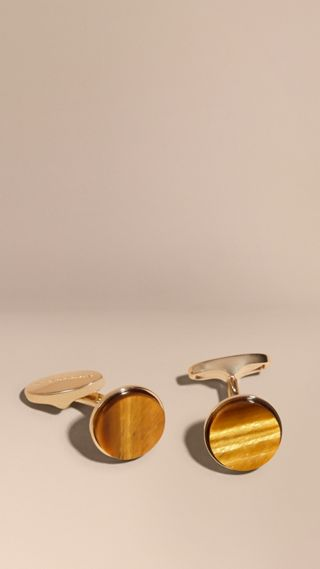 Tiger Eye Stone Round Cufflinks