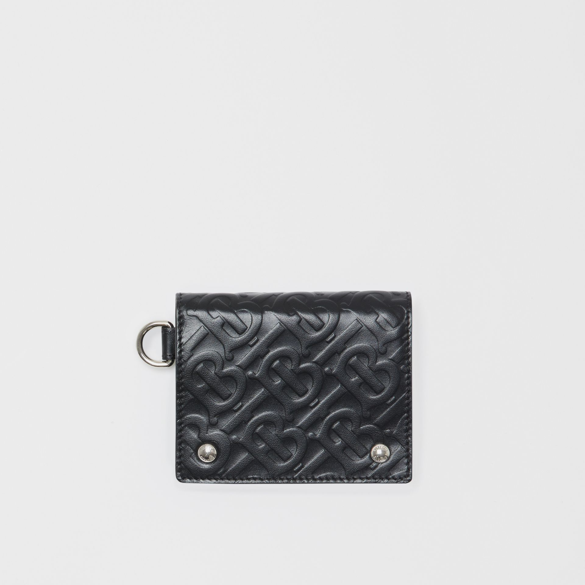 Monogram Embossed Leather Trifold Wallet in Black - Men | Burberry Australia - gallery image 0