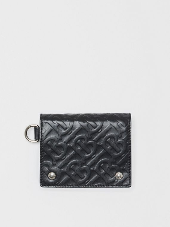 Monogram Embossed Leather Trifold Wallet in Black