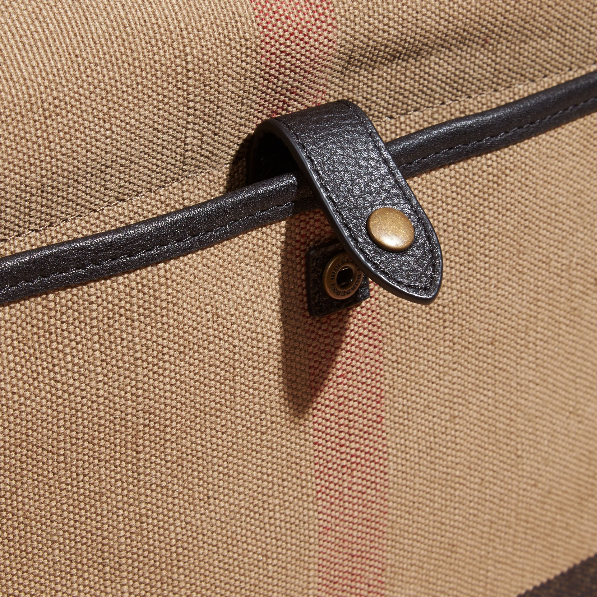 Black Leather Trim Canvas Check Messenger Bag - gallery image 4