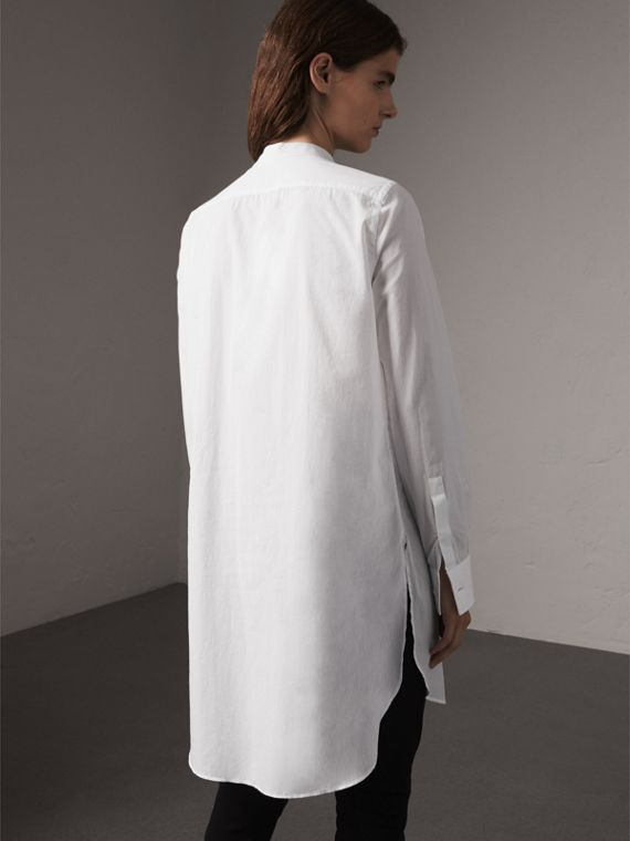 Bib Detail Cotton Longline Tunic Shirt in White - Women | Burberry - cell image 2