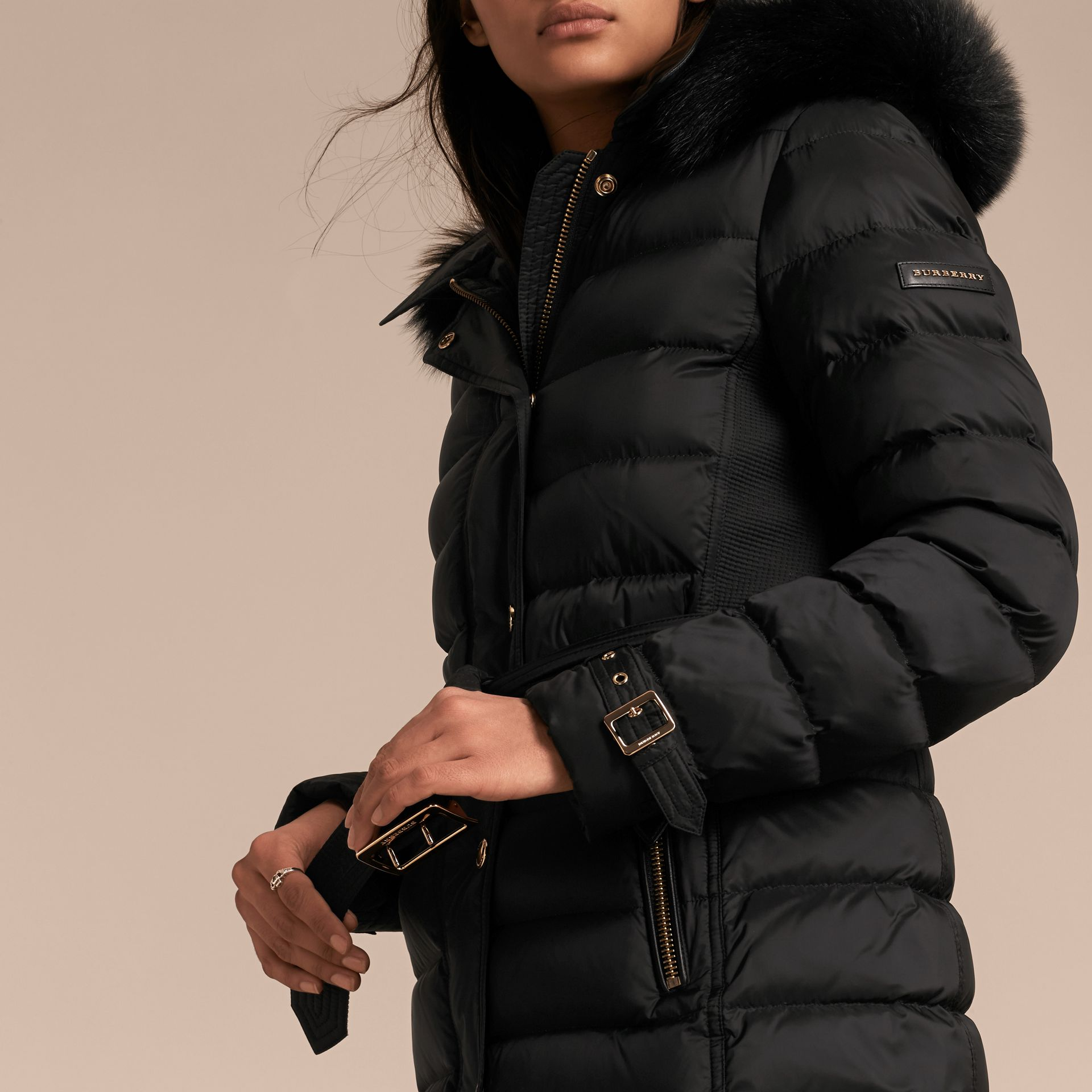 Down-filled Coat with Fox Fur Trim Hood in Black - Women | Burberry - gallery image 5