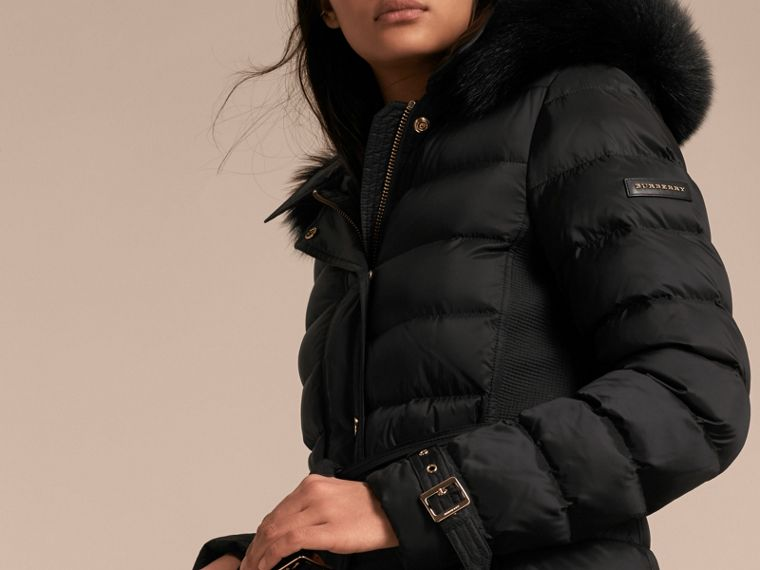 Down-filled Coat with Fox Fur Trim Hood in Black - Women | Burberry - cell image 4