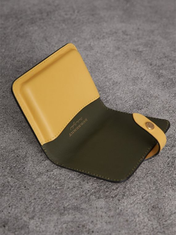 Equestrian Shield Leather Card Case in Larch Yellow | Burberry - cell image 3