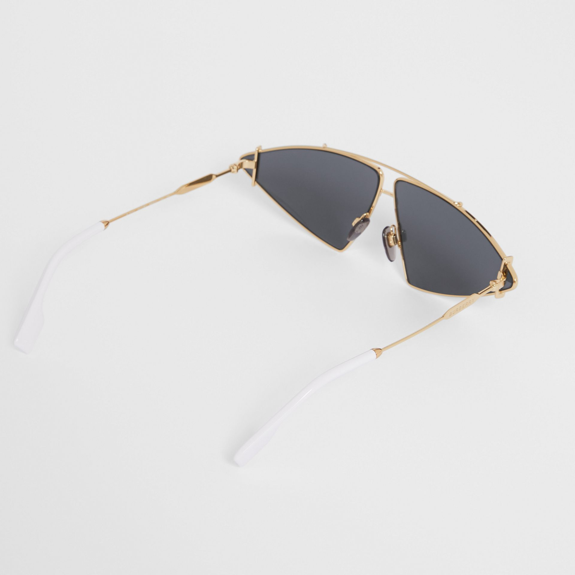 Gold-plated Triangular Frame Sunglasses in White - Women | Burberry - gallery image 3