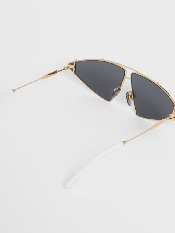 Gold-plated Triangular Frame Sunglasses in White - Women | Burberry - cell image 3