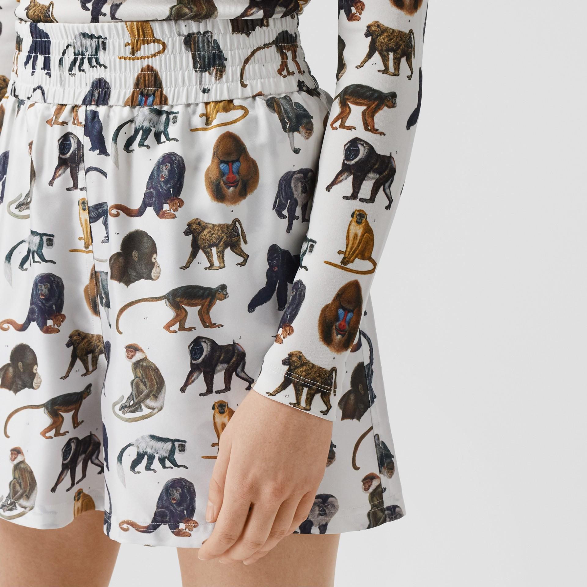 Monkey Print Silk Twill Shorts in Optic White | Burberry United Kingdom - gallery image 1