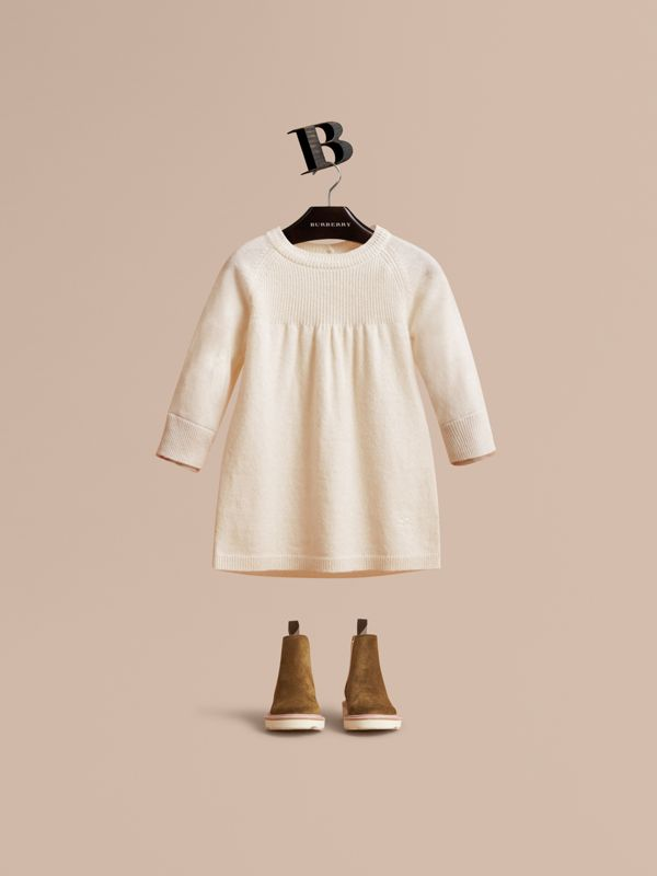 Check Cuff Knitted Cashmere Dress in Natural White | Burberry - cell image 2