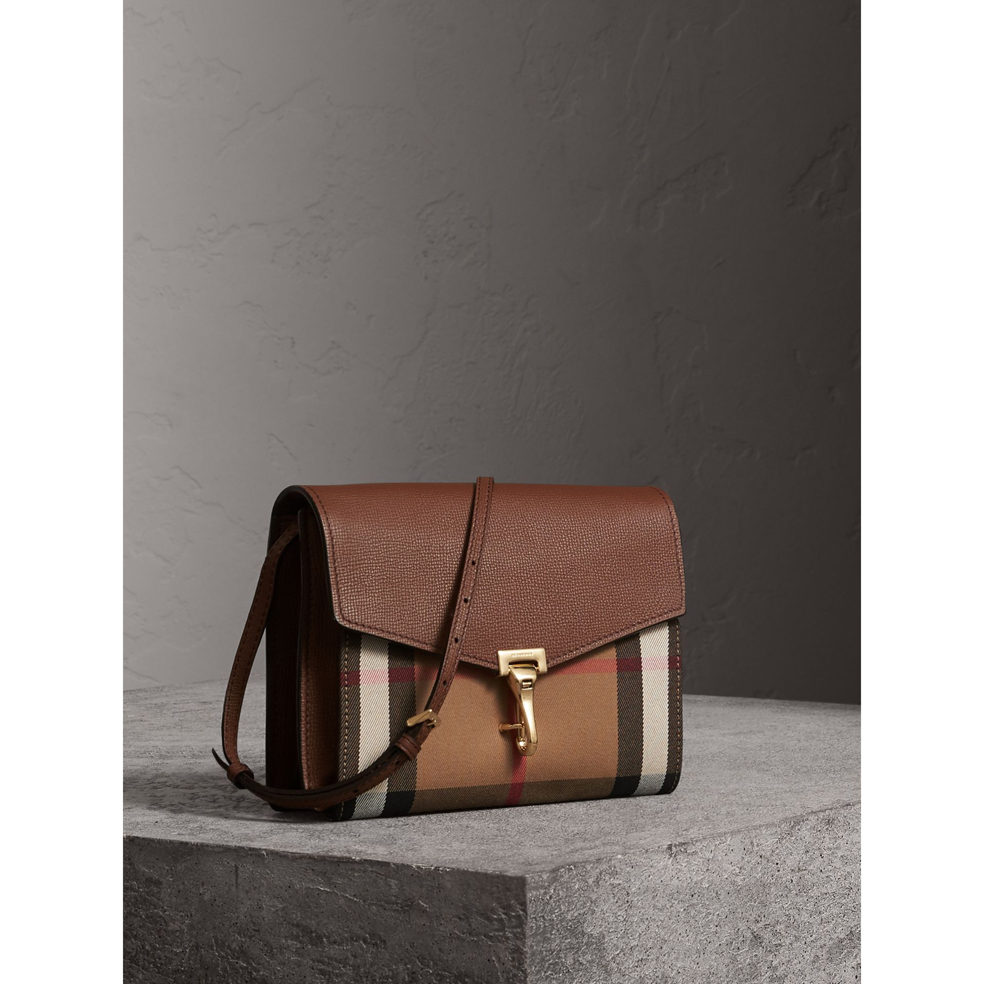 Small Leather and House Check Crossbody Bag in Tan - Women | Burberry Hong Kong - gallery image 5
