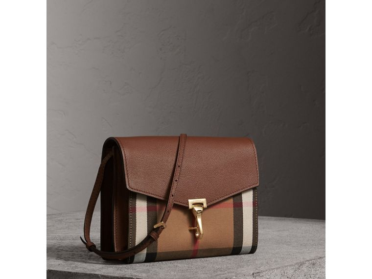 Small Leather and House Check Crossbody Bag in Tan - Women | Burberry Hong Kong - cell image 4