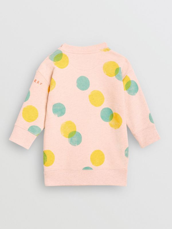Oversized Spot Print Cotton Sweater Dress in Oyster Pink Melange - Children | Burberry - cell image 3
