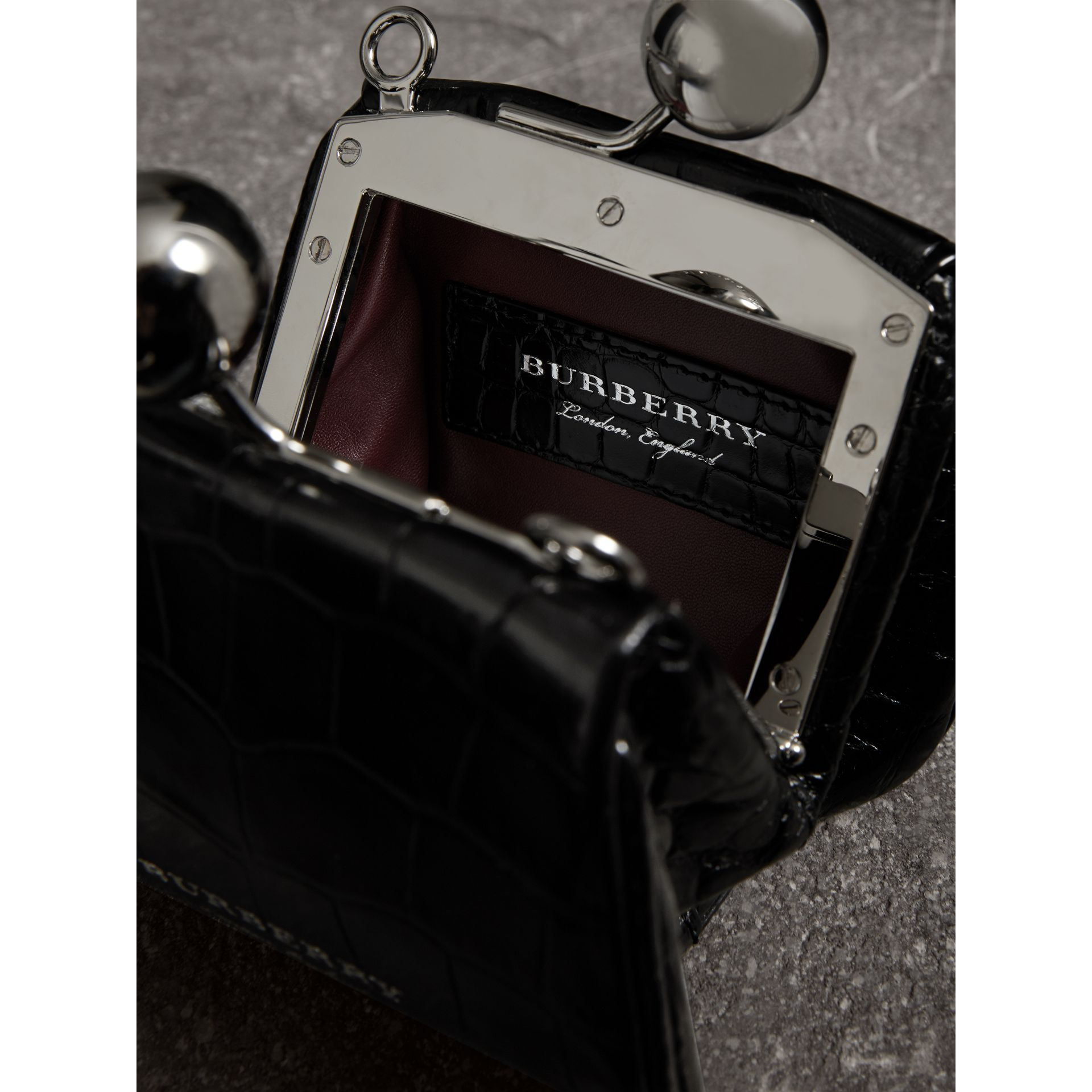 Mini Alligator Metal Frame Clutch Bag in Black - Women | Burberry - gallery image 5