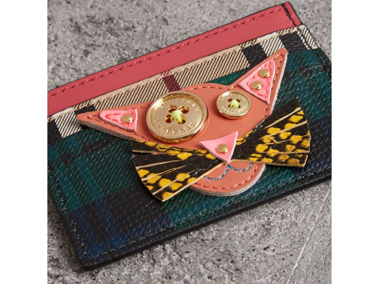 Cat Appliqué Leather and Haymarket Check Card Case in Bright Navy - Women | Burberry - cell image 1