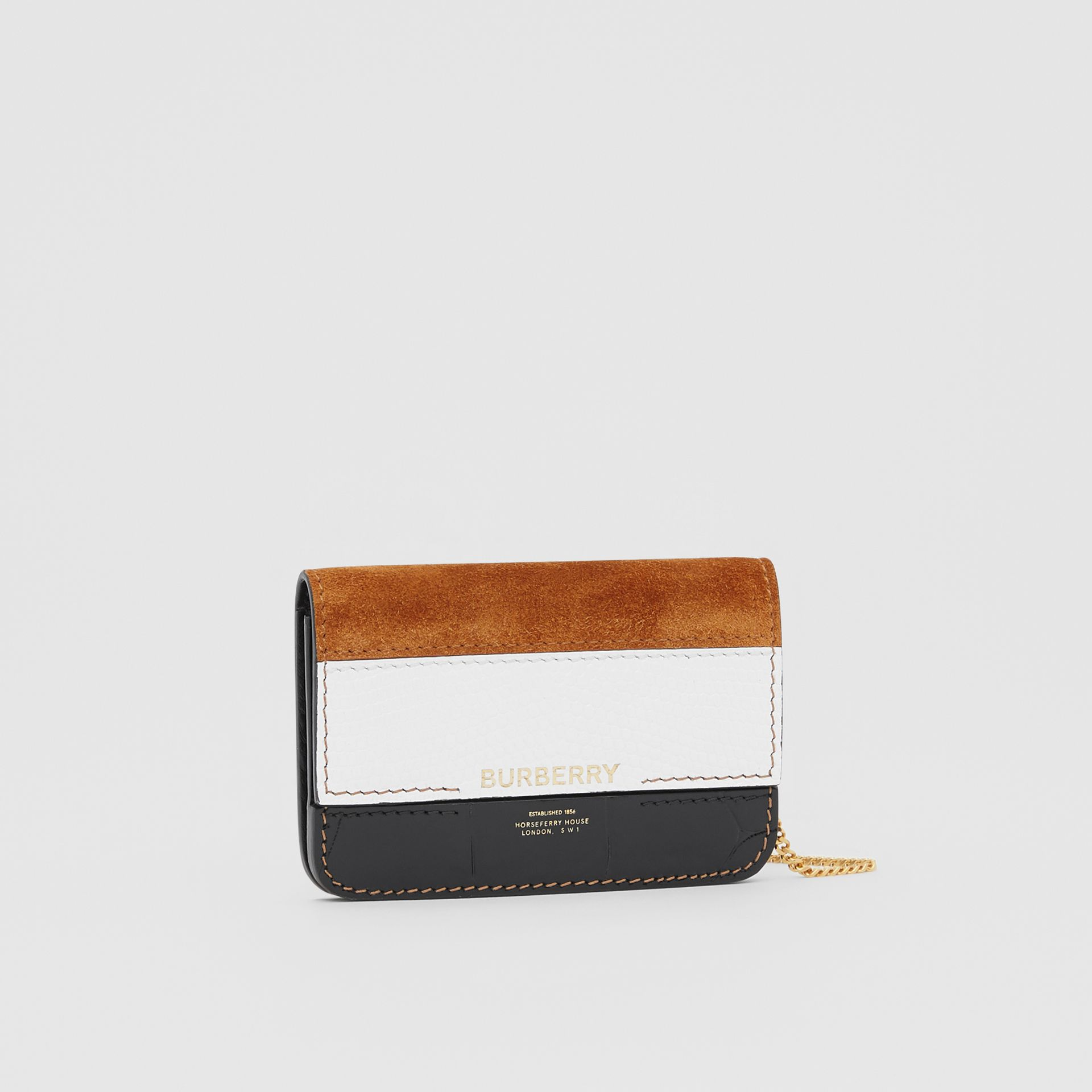 Suede and Leather Card Case with Detachable Strap in White/maple/black - Women | Burberry - gallery image 6