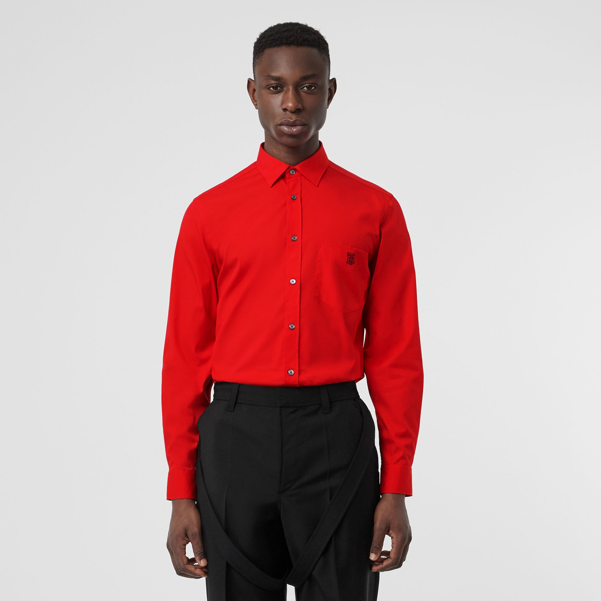 Monogram Motif Stretch Cotton Poplin Shirt in Bright Red - Men | Burberry - gallery image 0