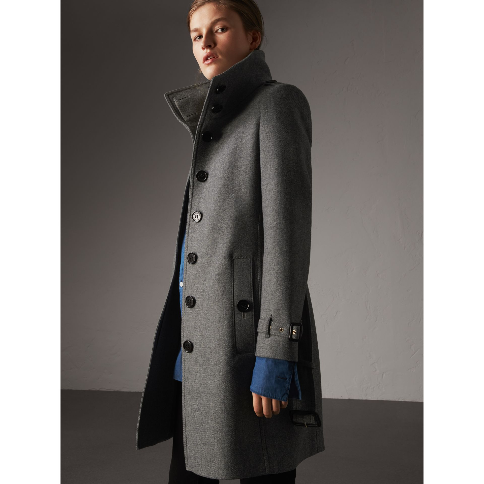 Technical Wool Cashmere Funnel Neck Coat in Steel Grey Melange - Women | Burberry - gallery image 6