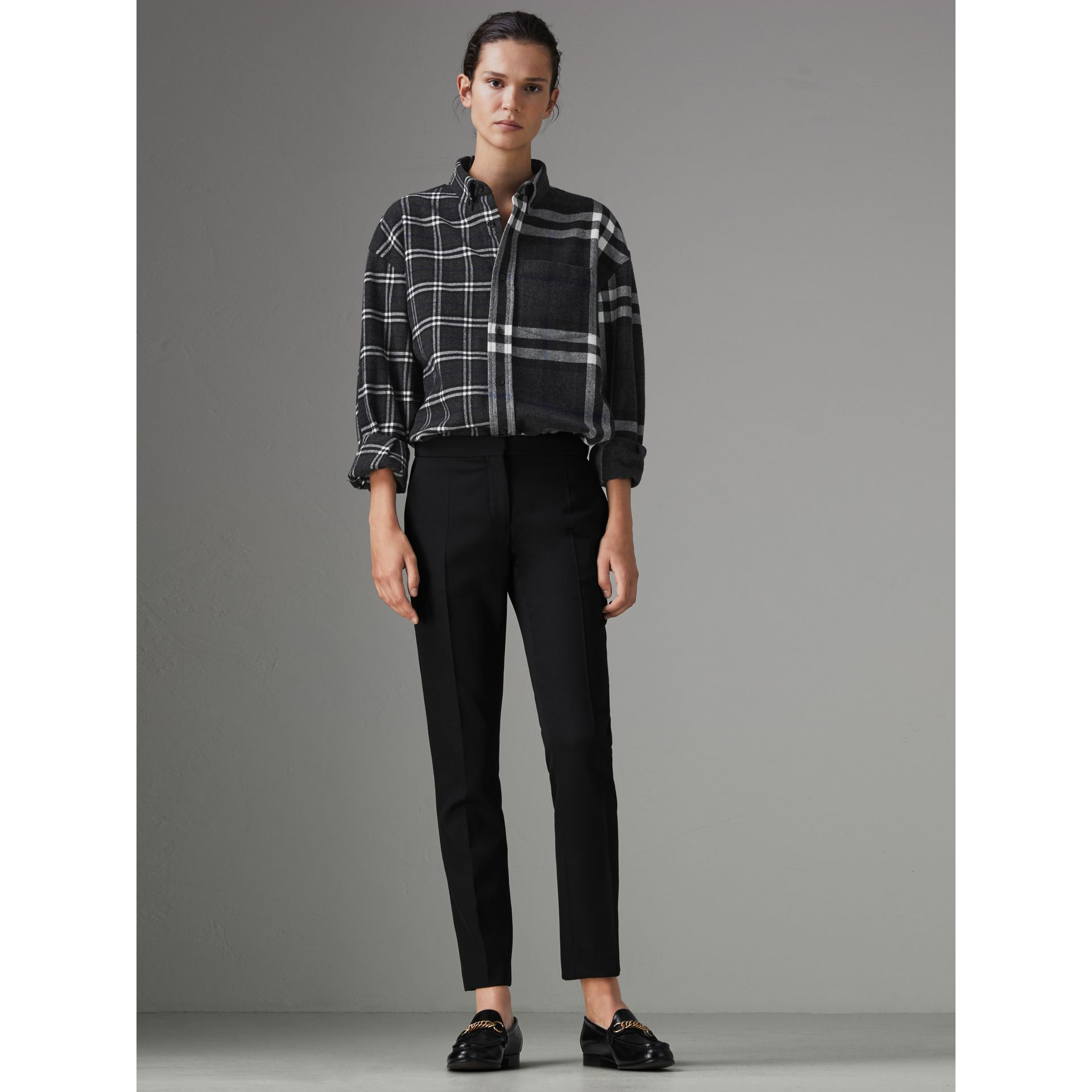 Gosha x Burberry Check Flannel Shirt in Charcoal | Burberry United States - gallery image 2