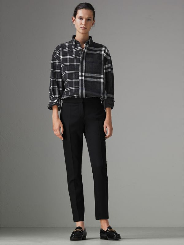 Gosha x Burberry Check Flannel Shirt in Charcoal | Burberry United States - cell image 2