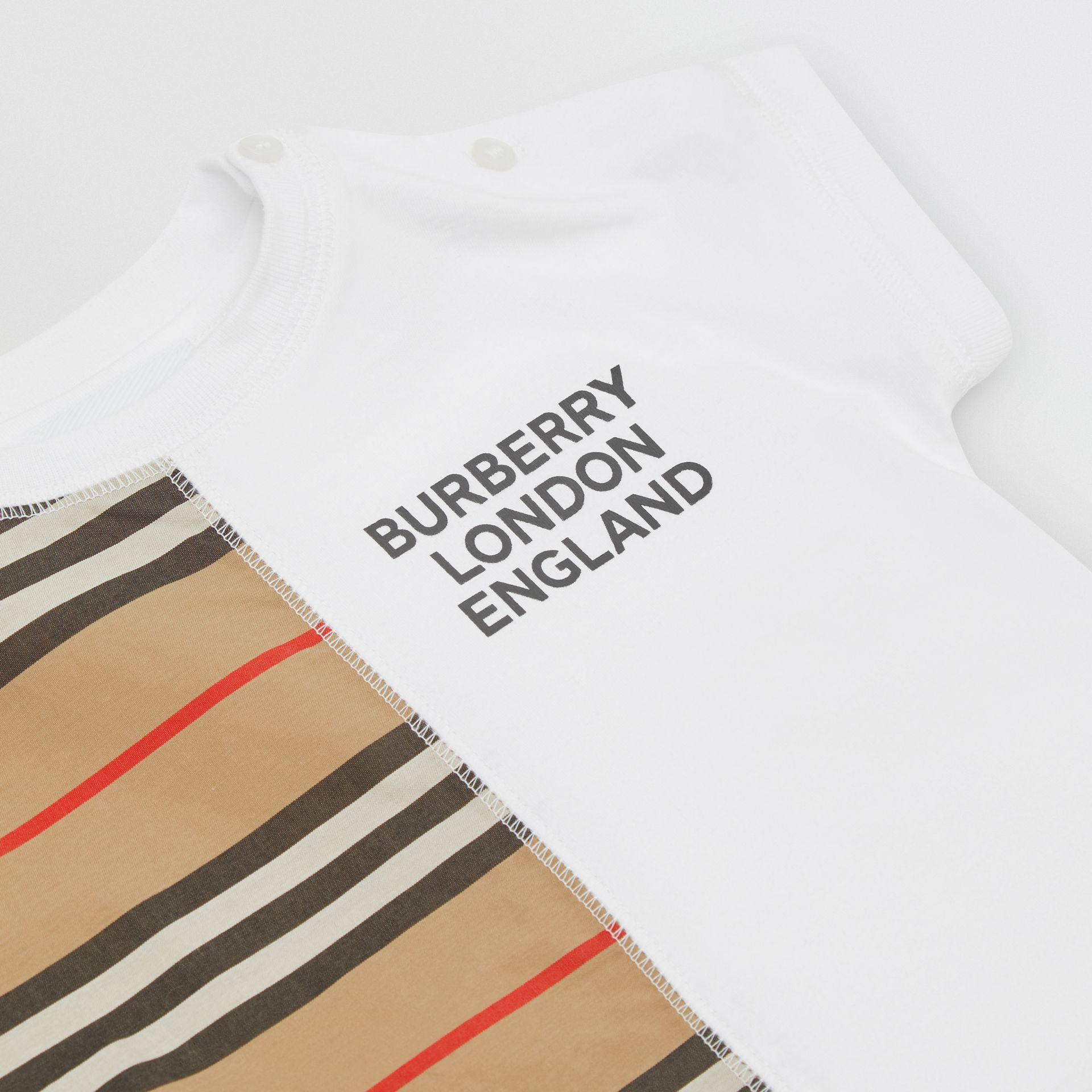 Icon Stripe Panel Cotton T-shirt in White - Children | Burberry United Kingdom - gallery image 1