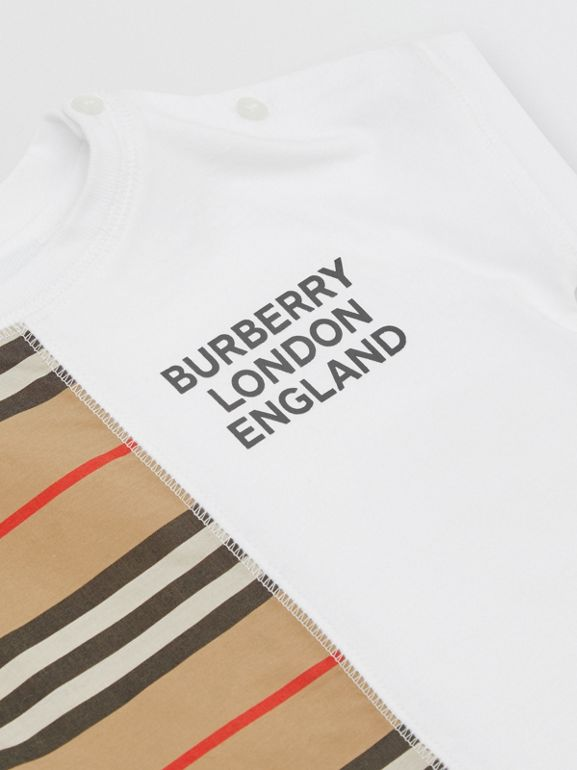 Icon Stripe Panel Cotton T-shirt in White - Children | Burberry United Kingdom - cell image 1
