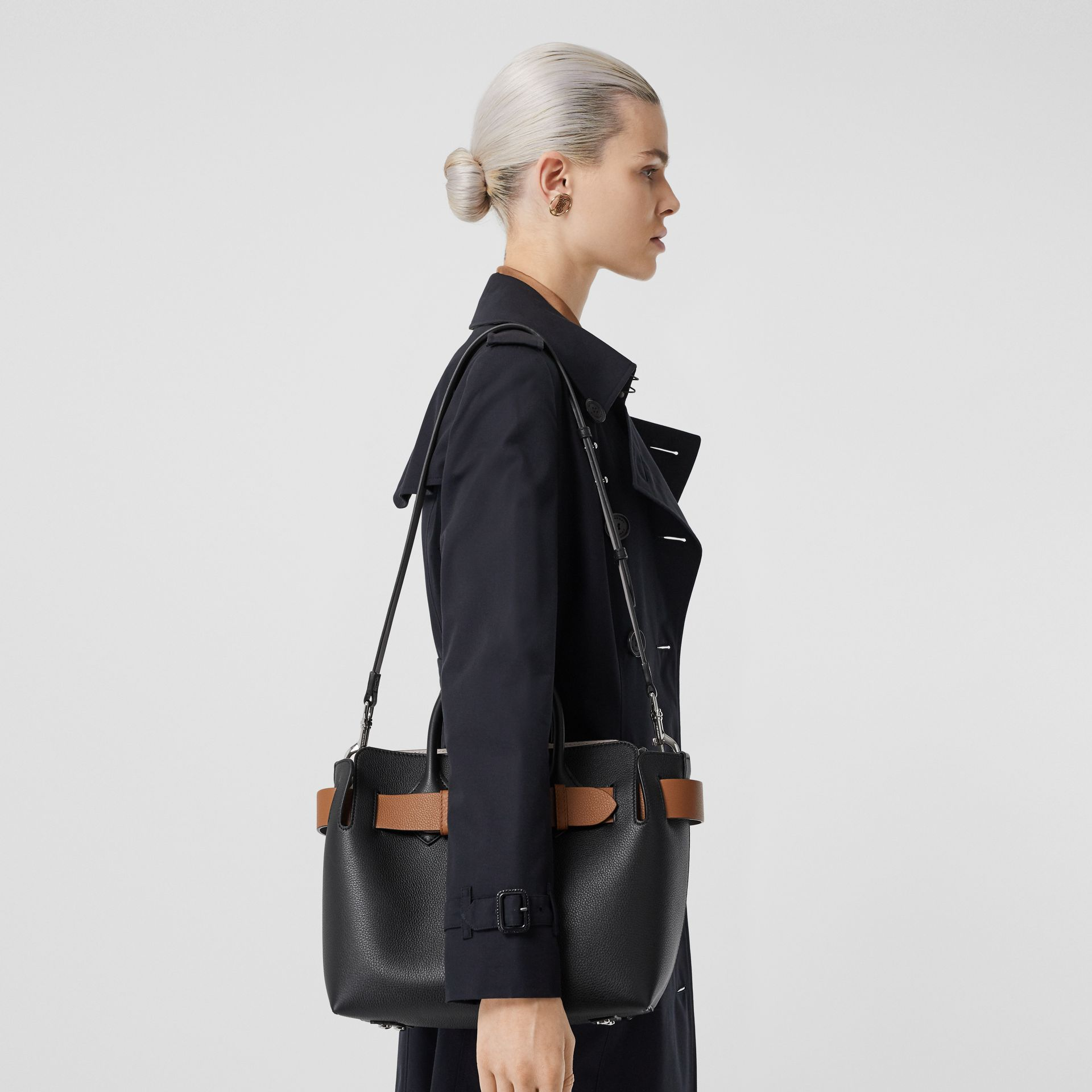 The Small Leather Triple Stud Belt Bag in Black/cognac/chalk Pink - Women | Burberry United Kingdom - gallery image 2