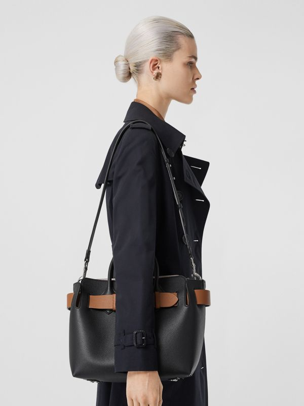 The Small Leather Triple Stud Belt Bag in Black/cognac/chalk Pink - Women | Burberry United Kingdom - cell image 2